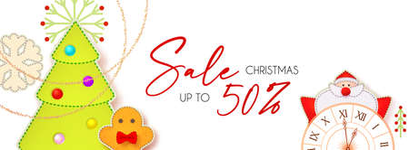 Christmas Sale cute design template with Santa Claus, fir tree, clock, gingerbread man, garland and toys