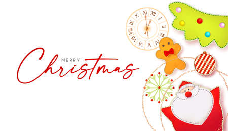 Merry Christmas cute design with Santa Claus, fir tree, clock, gingerbread man, garland and toys