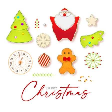 Cute Christmas elements set with Santa Claus, fir tree, clock, gingerbread man, garland and toys 向量圖像
