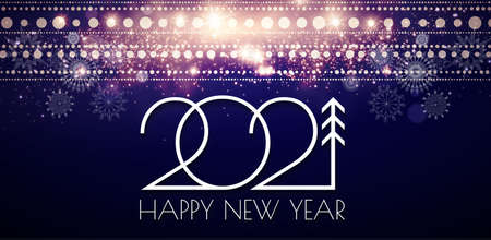Happy New 2021 Year Elegant gold text with light and shining bokeh effect