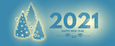 Happy New 2021 Year Elegant holiday design template with shining Christmas fir trees silhouette. Winter coniferous forest. Magic light design