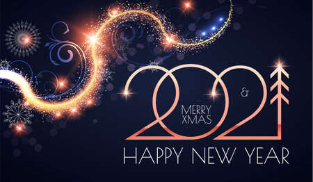 Happy New 2021 Year Elegant gold text with light and shining bokeh effect Stock fotó - 158605188
