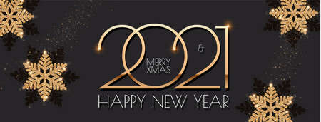 Happy New 2021 Year Elegant holiday design template with gold shining snowflakes Stock fotó - 158609906