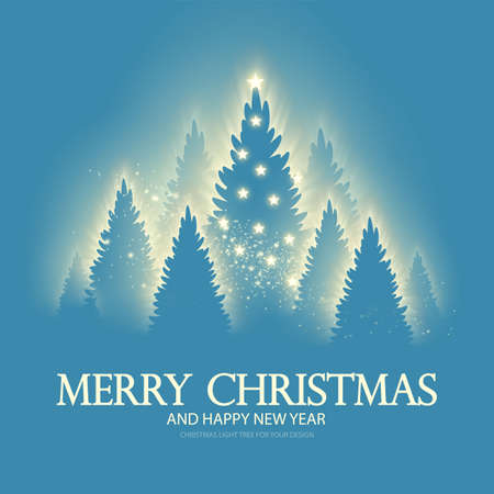 Christmas holiday design template with shining fir trees. Soft light effect. Coniferous winter forest with glitter, stars and shine