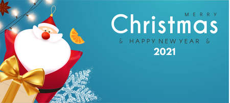 Merry Christmas and Happy New 2021 Year design template with 3D elements Santa Claus, gifts, snowflakes and balls
