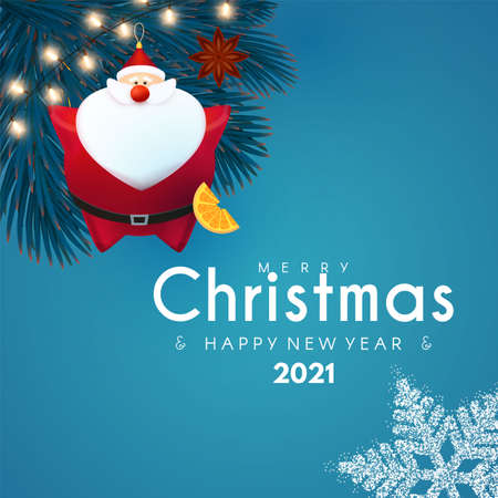 Merry Christmas and Happy New 2021 Year design template with 3D elements Santa Claus, gifts, snowflakes, fir tree and balls