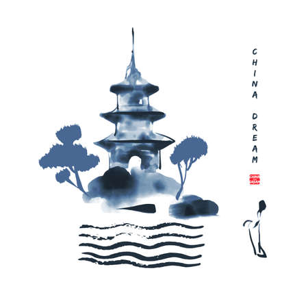 Chinese ink painted background with misty mountain, pagoda and waver. China dream
