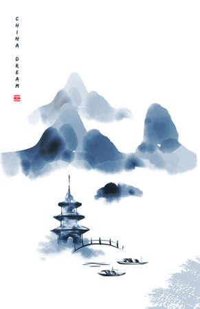 Chinese ink painted background with misty mountains, pagoda and bridge. China dream