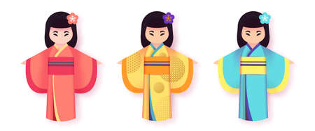 Japanese women in traditional clothing kimono set, National dress. Cartoon paper cut style. Paper toy