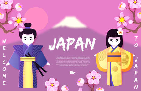 Welcome to Japan. Japanese background with couple, man and woman, in traditional national clothing, Fuji mountain and sakura blossom. Asian cartoon design 矢量图像