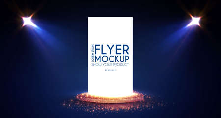 Realistic flying business card, poster and flyer mockup with 3D empty scene. Paper blank, spotlights and light effect