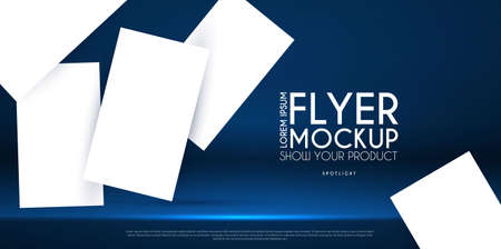 Realistic flying business cards, posters and flyer mockup with 3D empty scene. Paper blanks and light effect 矢量图像