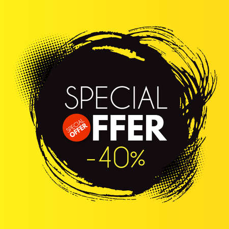 Special offer design. big sale poster template with ink circle