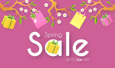 Spring Sale poster template. Seasom offer design with blooming branch, gift box and bags. Paper cut poster 矢量图像