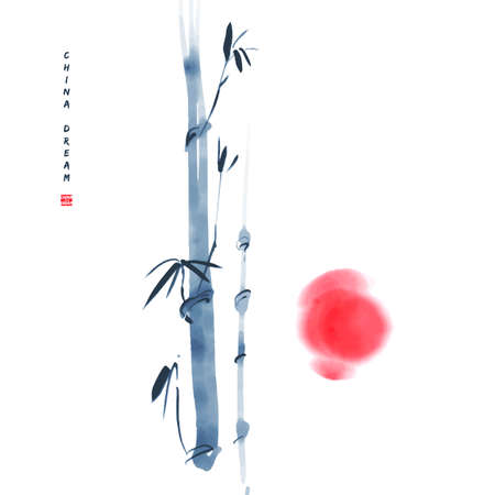 Chinese ink painted background with bamboo and sun. China dream