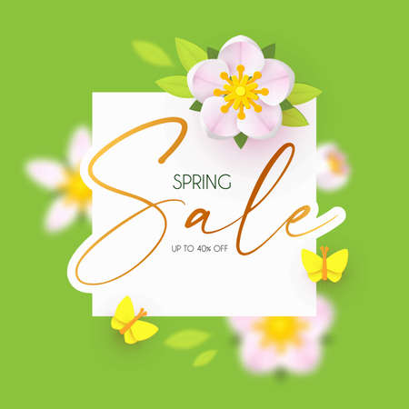 Spring Sale design template with fresh flowers. Cute apple blossom