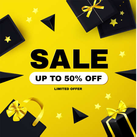 Sale poster template with boxes, bow and serpentine. Special offer banner with gift bags. and flying triangles