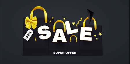 Sale poster template with boxes, bow and serpentine. Special offer banner with gift bags