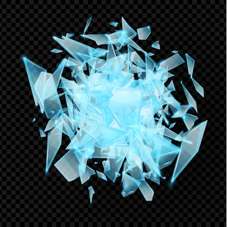 Realistic transparent shards of broken glass. Blue golssy glass pieses. Crash background