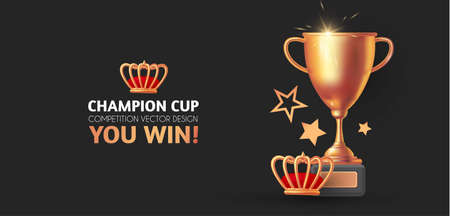 You win Champion background with gold champion cup, crown, stars and serpentine. Game, award and competition design Ilustrace