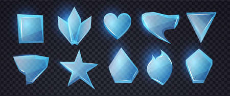 Cartoon blue glass banners set. Chrystal shapes. Transpatern glossy elements with light. Game design