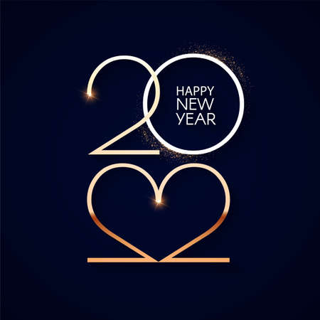 Happy new 2022 year Elegant gold text with light. Minimalistic text template