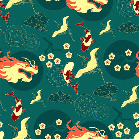 Chinese seamless pattern in traditional asian style. Crane, koi fish, dragon, clouds and flowers. China design