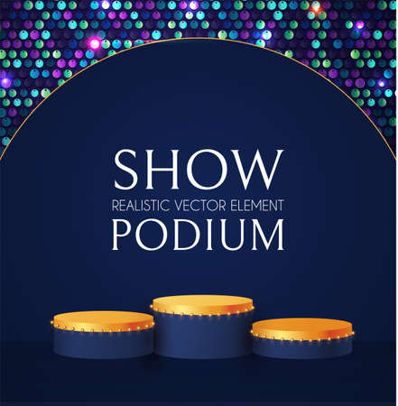 3D realistic round posium with sequence background. Empty stage. Showcase design