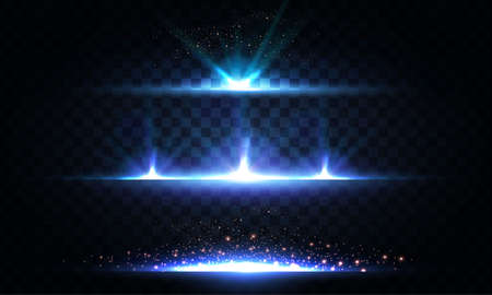 Abstract light effect and lens flare collection. Glowing stars. and sparkles on transparent background. Shining borders Ilustrace