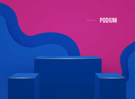 3D podium with wave background. Realistic minimal empty scene. Showcase and shelf. Trendy empty stage. Ilustrace