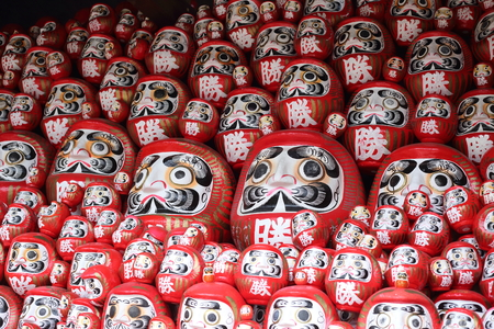 goodluck: daruma or red-painted good-luck doll in Japan Stock Photo
