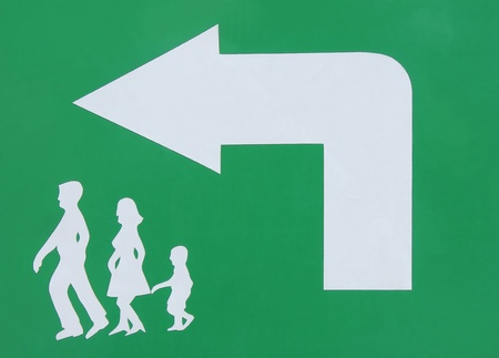 Left sign on a green background photo