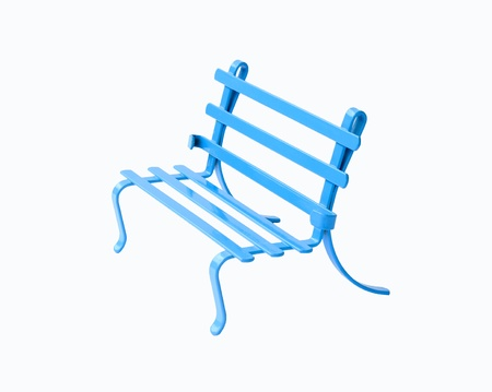 ductile: Small blue chair on white background made of ductile iron with the blue coating.