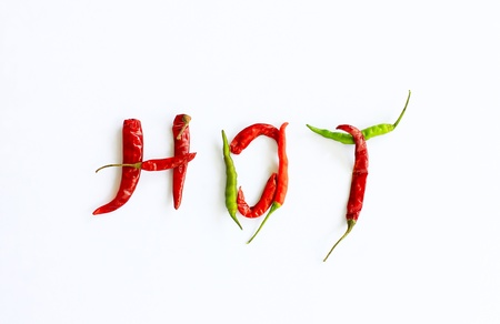 Fresh and dried chili peppers on a white background photo