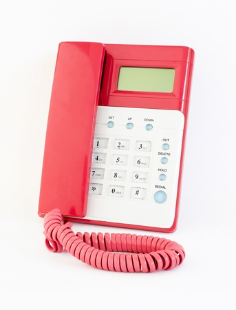 landlines: The pink telephone on a white background