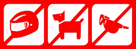 Set of prohibit sign include no helmet, no dog and no glass. Common use for the banks, shops etc. photo