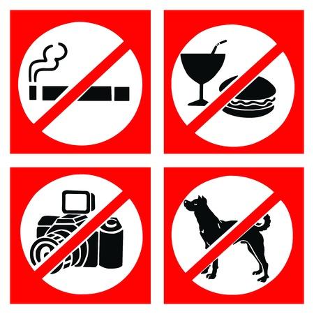 interdiction: Jeu de signer interdire comprennent pas fumer, ne pas manger ou boire, pas de photo et pas de chien.
