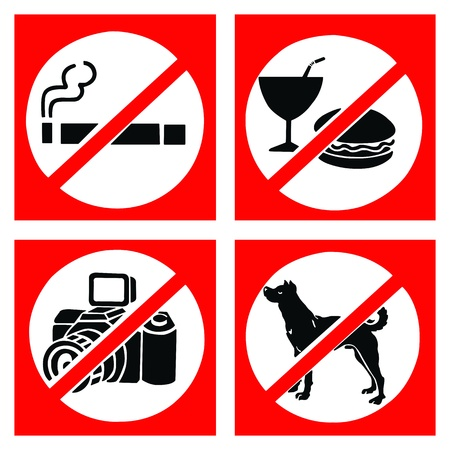 Set of prohibit sign include no smoking, no eating or drinking, no photo and no dog. photo