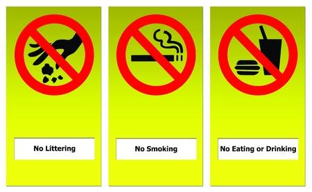 botar basura: Signo conjunto de prohibir incluyen no comer ni beber, no tirar basura y no fumar.
