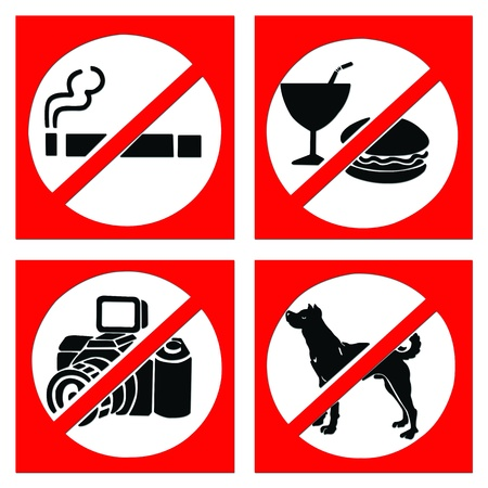 Set of prohibit sign include no smoking, no eating or drinking, no photo and no dog. Stock Photo - 10868783