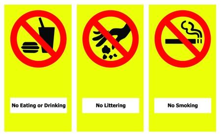 botar basura: Conjunto de prohibir signo incluyen sin comer ni no beber, tirar y no fumar.