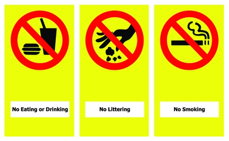 littering: Set of prohibit sign include no eating or drinking, no littering and no smoking.