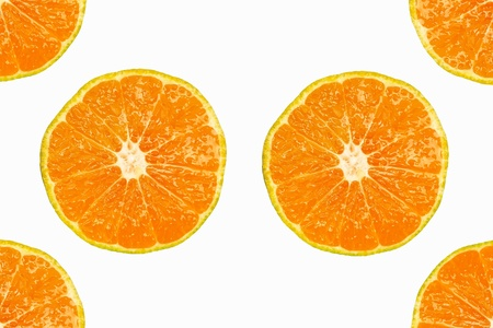 Pattern of fresh slices orange on white background. photo