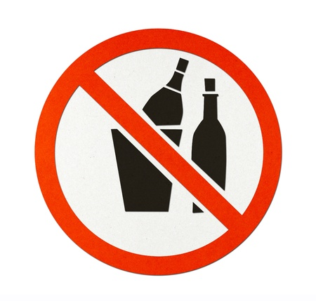 Prohibit sign recycled paper with a symbol depicting do not allow throwing glass bottles. photo