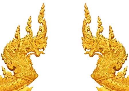 Head of golden Naga on a white background photo