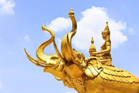 The golden three headed elephant Erawan  photo