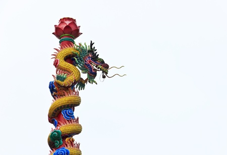 Chinese dragon statues around the pole in Chinese temple photo