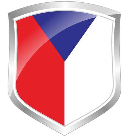 Czech flag shield Stock Photo