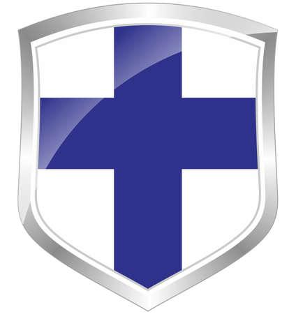 Finland flag shield Stock Photo