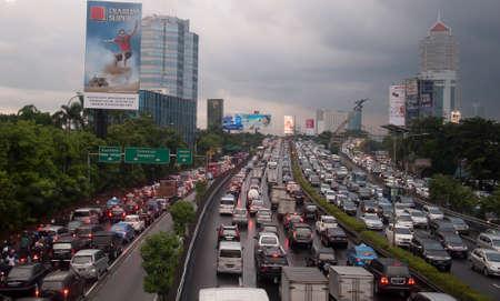 verkeersopstopping in Jakarta, Indonesië